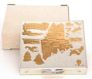 Vintage Chrome Ladies Maine Souvenir Compact New Old Stock In Old Plain Box