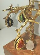 Rare 6andrdquo Russian Tree Marble Stone Base Display Jewelry + 4 Sterling Enamel Eggs