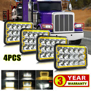 4x6 Led Headlights Sealed Halo Drl Fog Lights For Kenworth T800 T400 T600a W900