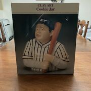 """New-babe Ruth Clay Art Cookie Jar All Boxes Sealed. """" Great For Sports Family ⚾️"""