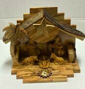 Vintage Fontanini Nativity Depose Italy Set Of Figures And Wood Stable Jesus Mary