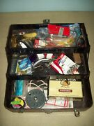 Jc Higgins Simonsen Tackle Box -with  Assorted Tackle, Lures Fly Reel , Etc