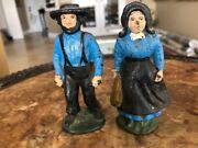 Bin Pair Of Heavy 19th Century Cast Iron Toys Amish Farmers, Hand Painted
