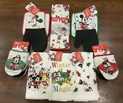 Disney Christmas Kitchen Lot Oven Mitts Pot Holders Towels Drying Mat
