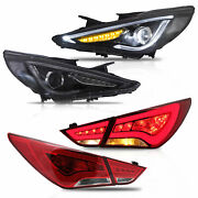 Free Shipping To Pr For 11-14 Sonata Demon Head Lights+red Clear Tail Lights