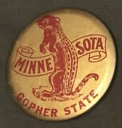 """Vintage Minnesota Gopher State Pinback Button 2 15/16"""" Across Gold Colored"""