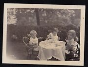Antique Vintage Photograph Three Little Children Sitting At Small Table In Yard