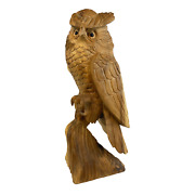 Owl Perched Statue Bird Of Prey Hand Carved Wood Carving Sculpture Bali Art