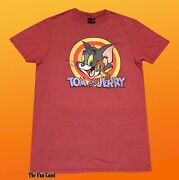 New Tom And Jerry Hanna Barbera 1940 Heather Red Menand039s Vintage T-shirt