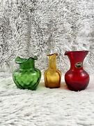 Set Of 3 Kanawha Blown Glass Vases Green, Ruby, Yellow Unique Decor Collectable