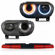 Free Shipping To Pr For 08-14 Dodge Challenger Headlights+ Red Clear Taillights