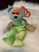 Rare Retired Peace Bear Ty Beanie Baby 1996. With Tag Errors And Bear Errors