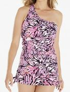Magisculpt One Shoulder Swimdress Swimsuit Size 16 Pink Animal Non Wired Padded