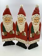 Vintage Santas Midwest Of Cannon Falls Mcf Hinged Wooden Folk Art Christmas