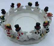Partylite Candle Holder 4andrdquo Base Christmas Snowman Holiday Festive Ceramic Read