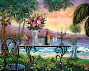 Dining By The Sea Is A Fully Hand Painted And Embellished Giclee Reproduction