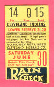 Vintage 6/30/56 Clev Indians Ticket Stub-bob Feller Pitched/hrs By Doby And Rosen