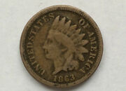 1863 Indian Head One Cent Copper-nickel U.s. Type Coin A2432