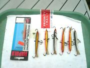 Lot Of 7 Rapala Ice Fishing Jigging Minnows One Mint In Pack, 6 Are Larger