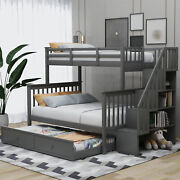 Twin Over Full Bunk Bed With Twin Size Trundle For Bedroomdormfor Kids Adults