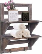 2-tier Organiser Rack Bathroom Shelf Toilet Wood Wall Mounted Floating Shelves