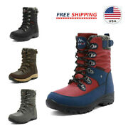 Women's Waterproof Snow Boots Warm Faux Fur Lined Lace Up Mid Calf Boots