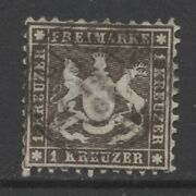 1862 German States Wurttemberg 1 Kreuzer Cote Of Arms Used 660.00