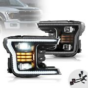 Upgraded Black Full Led Headlights W/ Sequential Turn Signal For 18-20 F-150