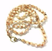 Vintage Antique Coral Agate Long Beaded Long Necklace Costume Jewelry Jvj53
