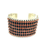 Native American Navajo Hand Made Sterling Silver Natural Coral Cuff Bracelet
