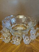 Fostoria Liberty Bell And Eagle Punch Bowl Set. Crystal With 9 Cups