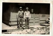 Vintage Antique Photograph Two Military Men With Helmets And Gun
