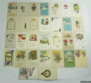 30 Antique Christmas Holiday 1900and039s Colorful Message Postcards