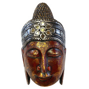 Sublime Buddha Mask Wall Sculpture Hand Carved Wood Balinese Art Handmade Red