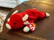 Ty Retired Brand New Mint Condition Beanie Buddy Snort The Bull Plush Toy - 4002