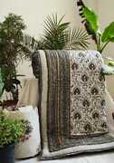 Exclusive Handcrafted Beetal Leaf Jaipuri Reversible Comforter 90andtimes108 Inches