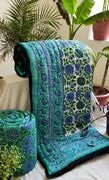 Exclusive Handcrafted Blue Florel Jaipuri Reversible Comforter 90andtimes108 Inches