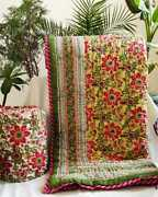 Exclusive Handcrafted Yellow Red Florel Jaipuri Reversible Comforter 90andtimes108 Inch