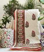 Exclusive Handcrafted Mugal Buti Jaipuri Reversible Comforter 90andtimes108 Inches