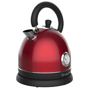 Frigidaire 1.8l Cordless Electric Stainless Steel Tea Kettle W/ Temp Gauge Red