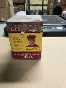Vintage Lipton Tea Tin Can With Paper Label Advertising Very Rare Original Lid