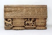 Ancient Hand Carved Indian Old Temple Elephant And Dragon Design Wood Wall Decor