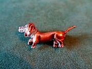 Alice Caviness Sterling Silver Enameled Marcasite Dachshund Pin Brooch, Germany