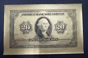 American Banknote Company Engraved Specimen Banknote Black On Gold Paper