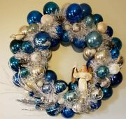 And039angelic Blueand039 Christmas Wreath 65 Vintage Glass Balls New Us Made Free Ship