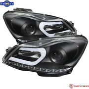Spyder Drl Projector Headlights W/ Led Turn Signal For 12-2013 Mercedes C Class
