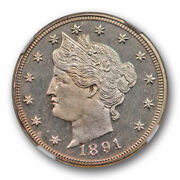 1891 5c Proof Liberty Head Nickel Ngc Pf 66 Cameo Pr Cam Cac Approved