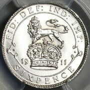 1911 Pcgs Unc Det 6 Pence George V Great Britain Sterling Silver Coin 20120201c