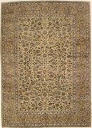 Hand-knotted Floral Classic 9x13 Semi Antique Beige Area Rug Oriental Carpet