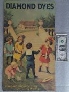 Vintage 20 Diamond Dyes Cabinet Tin Advertising Sign Children Playing Jump Rope